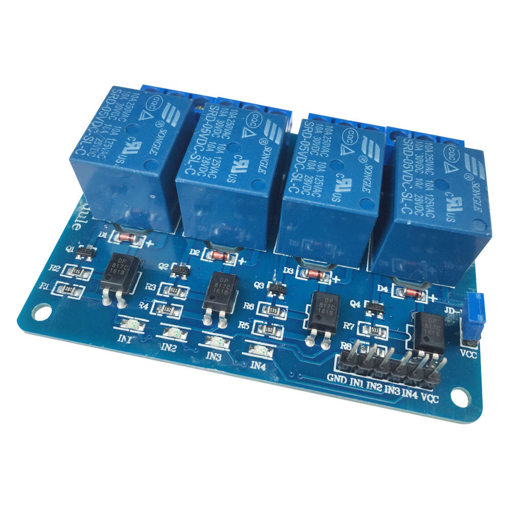 4채널 옵토커플러 릴레이 모듈, 릴레이 조절 패널 PLC, 5V 4 way 모듈 / 5V Four 4 Channel Relay Module With optocoupler For PIC AVR DSP ARM Arduino 8051